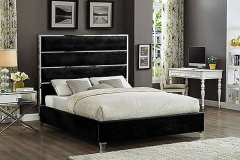 KING SIZE- (5881 BLACK)- VELVET FABRIC- BED FRAME- WITH SLATS- will be available after september 21, 2020