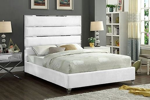 KING SIZE- (5882 OFF WHITE)- VELVET FABRIC- BED FRAME- WITH SLATS