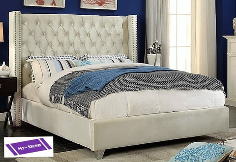 QUEEN SIZE- (5892 CREAM)- VELVET FABRIC- BED FRAME- WITH SLATS
