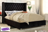KING SIZE- (5893 BLACK)- VELVET FABRIC- BED FRAME- WITH SLATS