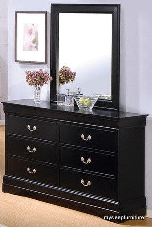 (LP BLACK- 6)- 4935A- DRESSER WITH MIRROR