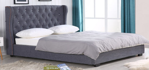 KING SIZE- 6100- GREY COLOR- FABRIC- BED FRAME- WITH CRYSTALS HEADBOARD & WITH SLATS