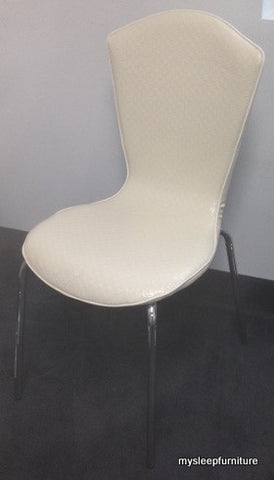 613- WHITE COLOR- PVC- DINING CHAIR- WITH CHROME LEGS (ONLY 2 CHAIRS LEFT)