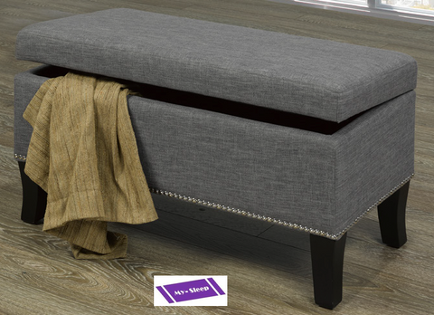 "6241- GREY COLOR- 32"" LONG- FABRIC- STORAGE OTTOMAN"