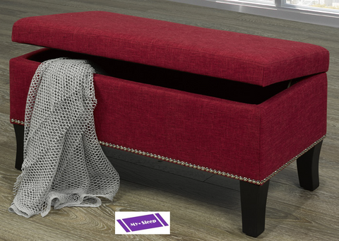 "6242- RED COLOR- 32"" LONG- FABRIC- STORAGE OTTOMAN"
