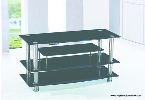 (700 BLACK)- GLASS- TV STAND