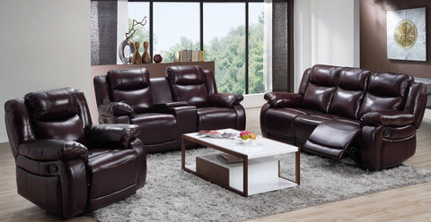 7016- BROWN COLOR- REAL LEATHER- MANUAL- RECLINER 3 PC. SOFA SET