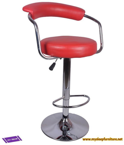 7500- RED COLOR- PU LEATHER- ADJUSTABLE- SWIVEL- BAR STOOL