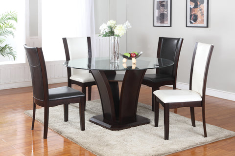 (AMBROSE BROWN- 5 PC. SET)- ROUND- GLASS- DINING TABLE- WITH 4 BROWN CHAIRS