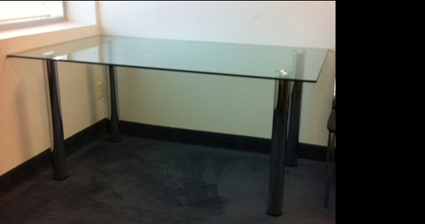 AMSTERDAM-  CLEAR GLASS TOP- RECTANGLE- GLASS- DINING TABLE