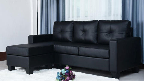 (ANNA BLACK)- LEATHER- REVERSIBLE- SECTIONAL SOFA- out of stock until may 1, 2021