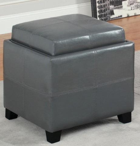 ANTON PU LEATHER STORAGE OTTOMAN WITH FLIP TOP TRAY WHITE RED