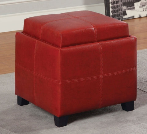 ... ANTON PU LEATHER STORAGE OTTOMAN WITH FLIP TOP TRAY  WHITE, RED, BROWN,  ...