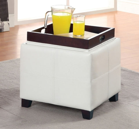 ANTON PU LEATHER STORAGE OTTOMAN WITH FLIP TOP TRAY  WHITE, RED, BROWN,