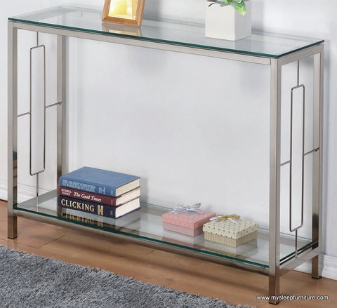 (ATHENA CHROME)- GLASS- CONSOLE TABLE- WITH SHELF