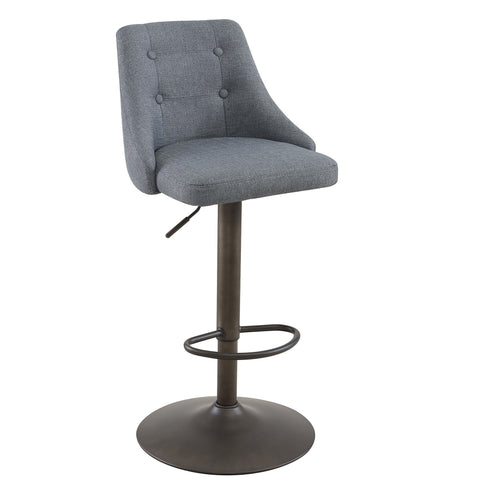 ADYSON - GREY COLOUR - FABRIC - 2 PACK - ADJUSTABLE - SWIVEL - BAR STOOL