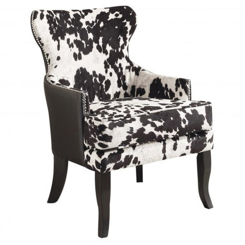 (ANGUS BLACK)- FABRIC/PU LEATHER- ACCENT CHAIR
