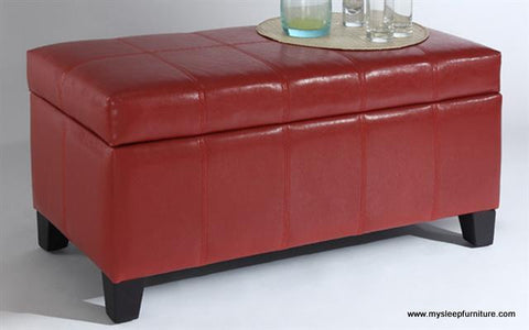 (BELLA RED)- PU LEATHER- STORAGE OTTOMAN