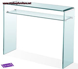 BENT GLASS- CONSOLE TABLE- WITH SHELF