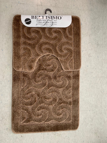 (GOLDEN BROWN COLOR)- BELLISIMO SYMBOL- 2 PC. BATH MAT SET