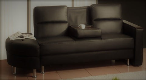 CADDY- BROWN COLOR- PU LEATHER- KLIK KLAK SOFA BED- WITH STORAGE, FOLDABLE TRAY AND MOON OTTOMAN
