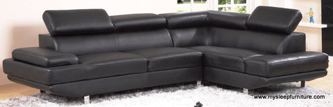 1311- BLACK COLOR- LEATHER AIR- SECTIONAL SOFA- WITH ADJUSTABLE HEADRESTS