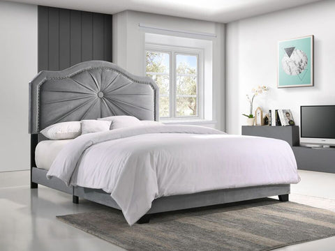 QUEEN SIZE- (EMBLA GREY)- VELVET FABRIC- BED FRAME- (BOXSPRING REQUIRED)
