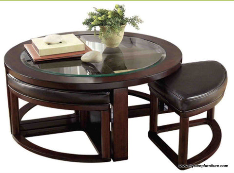 7982- EMMA- ROUND- GLASS- COFFEE TABLE- WITH 4 STOOLS