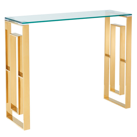 (EROS GOLD)- GLASS- CONSOLE/ COMPUTER TABLE