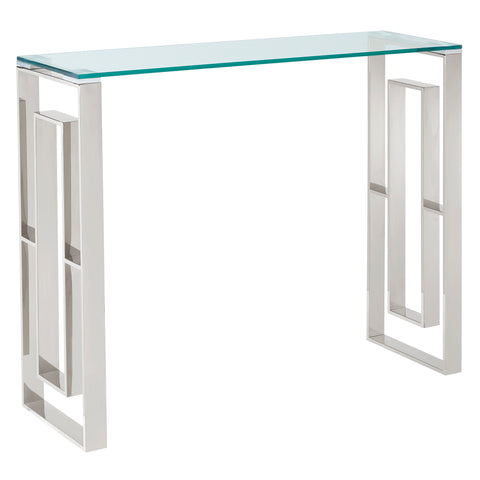(EROS SILVER)- GLASS- CONSOLE/ COMPUTER TABLE