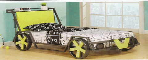 TWIN (SINGLE) SIZE- (99242 GREEN)- RACING CAR- BED FRAME