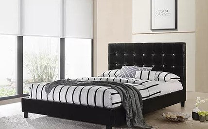 DOUBLE (FULL) SIZE- (GLARE BLACK)- LEATHER- CRYSTAL TUFTED- BED FRAME- WITH SLATS