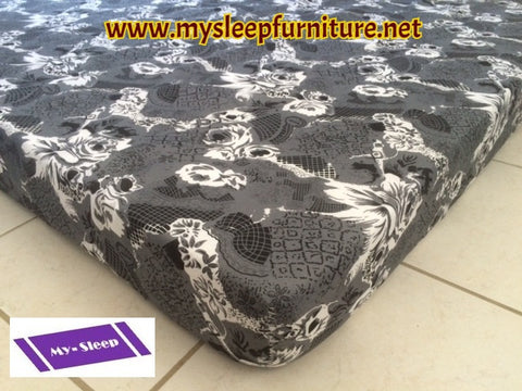 "QUEEN SIZE- 5"" THICK- (GREY PRINT)- FOAM MATTRESS"