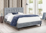 DOUBLE (FULL) SIZE- (GLARE GREY)- VELVET FABRIC- CRYSTAL TUFTED- BED FRAME- WITH SLATS