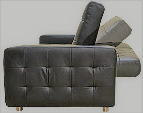 HONEY- GREY COLOR- PU LEATHER- KLIK KLAK SOFA BED- WITH ARMS AND SPLIT BACK