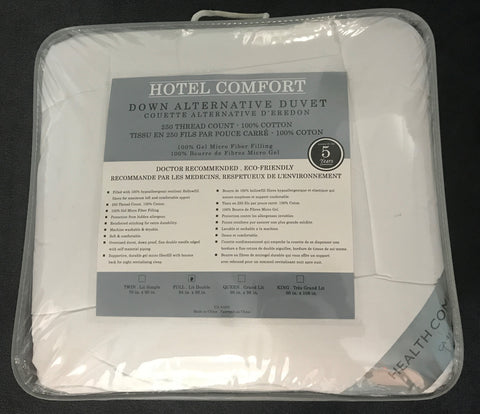 TWIN (SINGLE) SIZE- (HOTEL COMFORT)- 100% COTTON- DUVET
