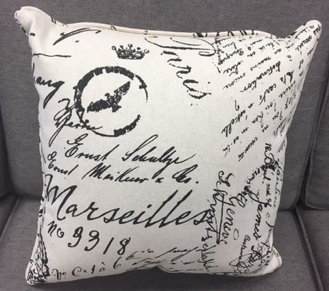 (1209P IVORY)- WRITING FABRIC- CANADIAN MADE- TOSS CUSHION