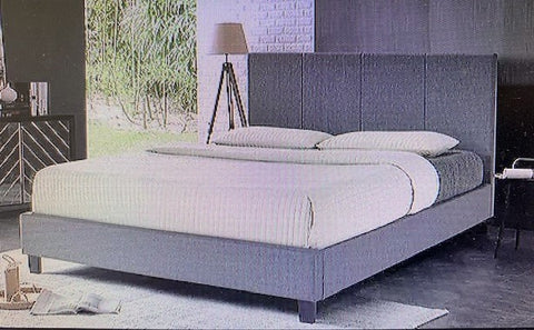KING SIZE- (UPTOWN GREY)- FABRIC- BED FRAME- WITH SLATS