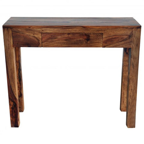 IDRIS SOLID WOOD CONSOLE TABLE WITH DRAWER IN DARK SHEESHAM