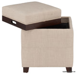 KOVO FABRIC STORAGE OTTOMAN WITH FLIP TOP TRAY-GREY, BEIGE COLORS