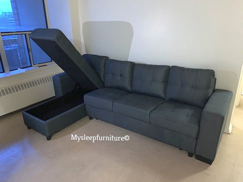 (DEVAN GREY)- FABRIC- REVERSIBLE- SECTIONAL SOFA- WITH STORAGE