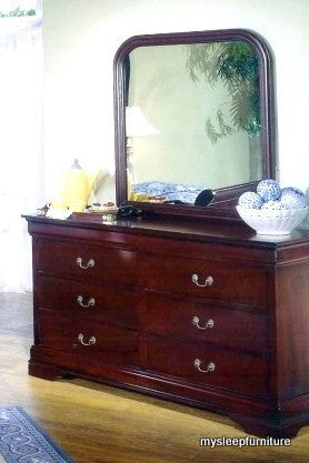 LOUIS PHILLIP- CHERRY COLOR- 6 DRAWER- DRESSOR + MIRROR