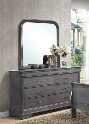 (BO LP GREY 4934A- 6)- DRESSER + MIRROR