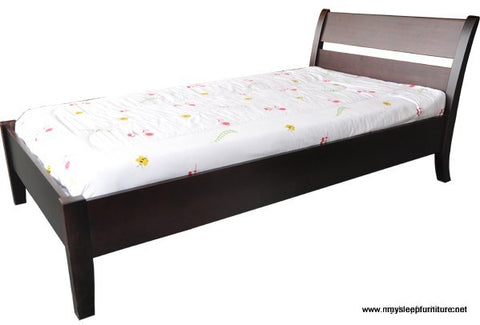 QUEEN SIZE- (LINDA ESPRESSO)- WOOD- BED FRAME- WITH SLATS