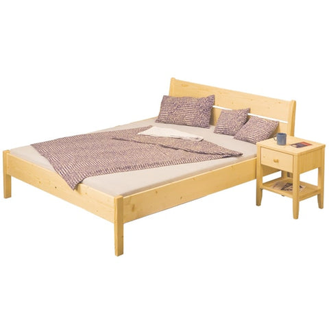 DOUBLE (FULL) SIZE- (LINDA NATURAL)- WOOD- BED FRAME- WITH SLATS