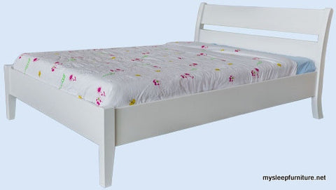 TWIN (SINGLE) SIZE- LINDA- WHITE COLOR- SOLID WOOD- BED FRAME- WITH SLATS