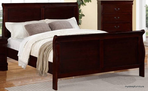king size louis phillip cherry color sleigh wood bed frame mysleep. Black Bedroom Furniture Sets. Home Design Ideas