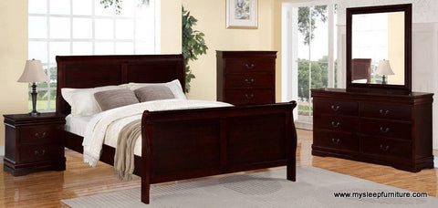 LOUIS PHILLIP- CHERRY COLOR- 8 PC. BEDROOM SET- TWIN, DOUBLE, QUEEN, KING SIZES
