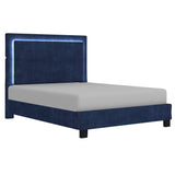 Queen Size- (Lumina Blue with light)-  Fabric- Bed Frame- with slats