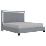 Queen Size- (Lumina Grey with light)- Fabric- Bed Frame- with slats